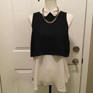 Elle black and light gray sz medium blouse